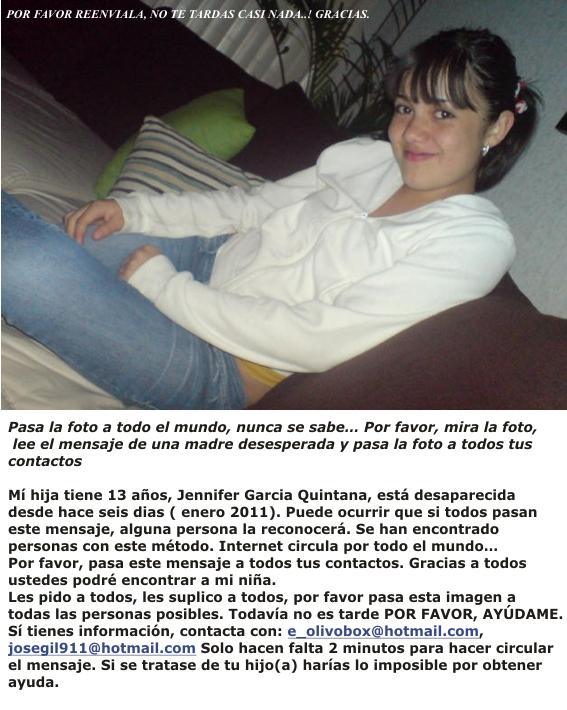 Jennifer García Quintana (Falsa Desaparicion)