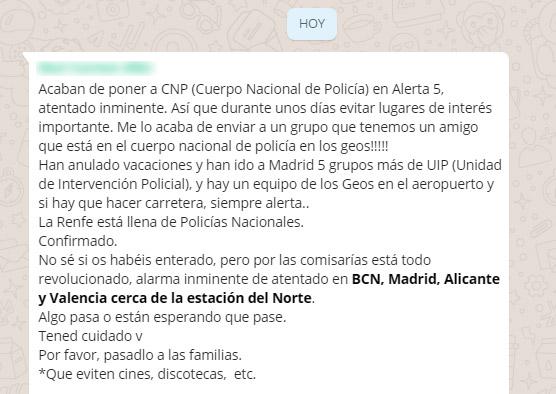 bulo estación del norte Valencia otro bulo sobre un ataque terrorista