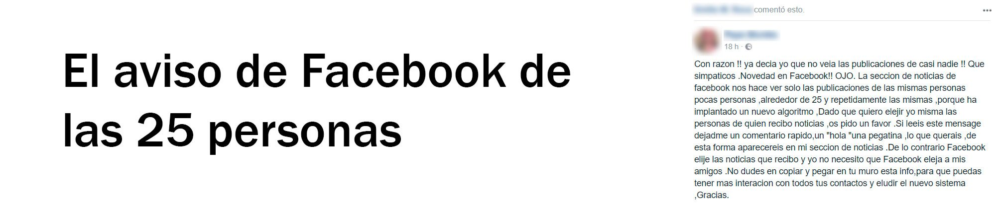 El aviso de Facebook de las 25 personas