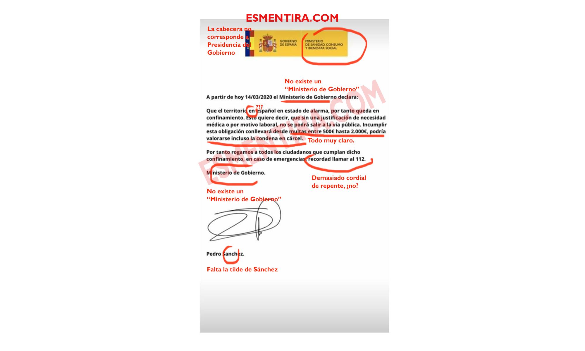 Comunicado falso de presidencia del gobierno cabecera