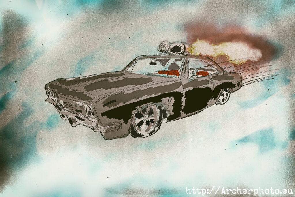 JATO, Chevrolet y evolución, ilustración de Chevrolet Impala volando, leyenda urbana, leyendas urbanas