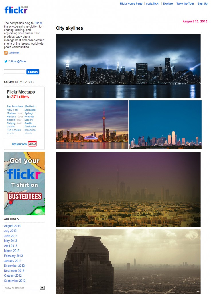 Screenshot of Flickr Blog. The rights belong to the author of each photograph.