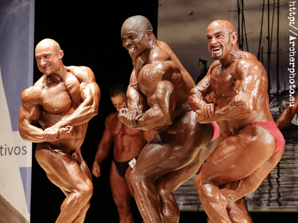 Xisco Serra, Siani Ousmane y José María Forte en una comparativa para el Absoluto del Trofeo Olimpia 2013. Fotografía de Archerphoto
