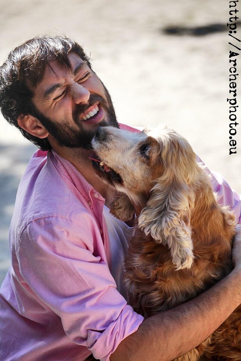 David y Potter,retrato con mascota