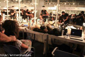 Peluquería fotografía Semana Moda de Valencia backstage.