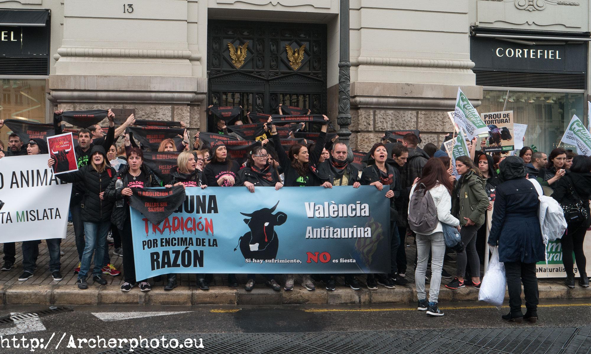 Manifestación antitaurina en Valencia