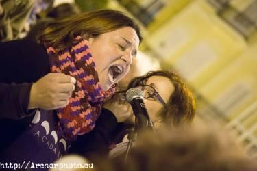 Manifestación Día de la Mujer, Valencia, España, 2018, Plaza de la Virgen